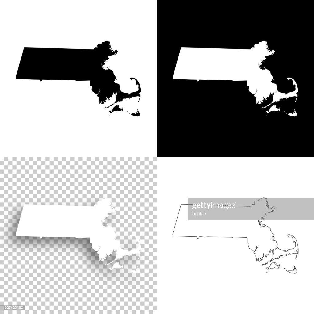 Massachusetts maps for design - Blank, white and black backgrounds