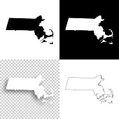 Massachusetts maps for design - Blank, white and black backgrounds