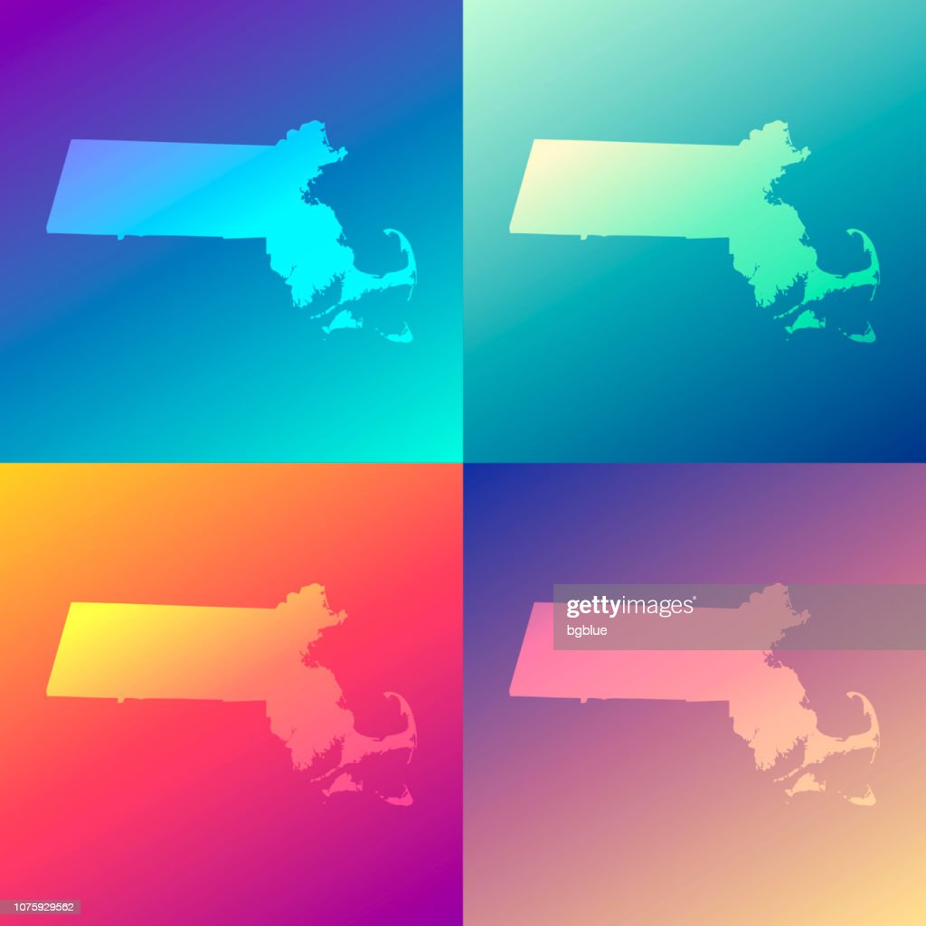 Massachusetts maps with colorful gradients - Trendy background