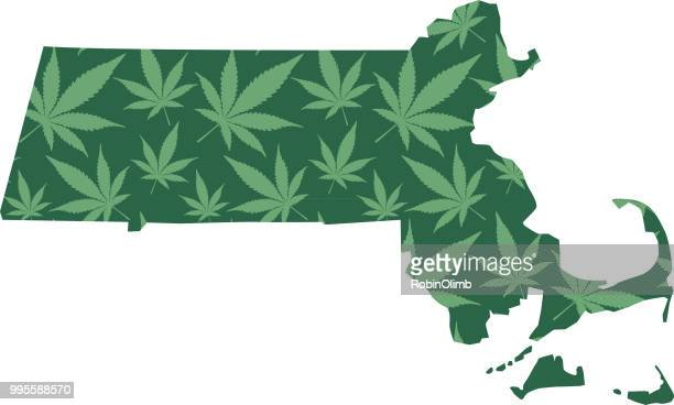 Massachusetts Marijuana Leaves Pattern
