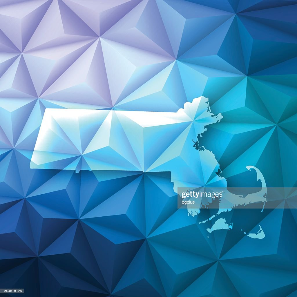 Massachusetts on Abstract Polygonal Background - Low Poly, Geometric
