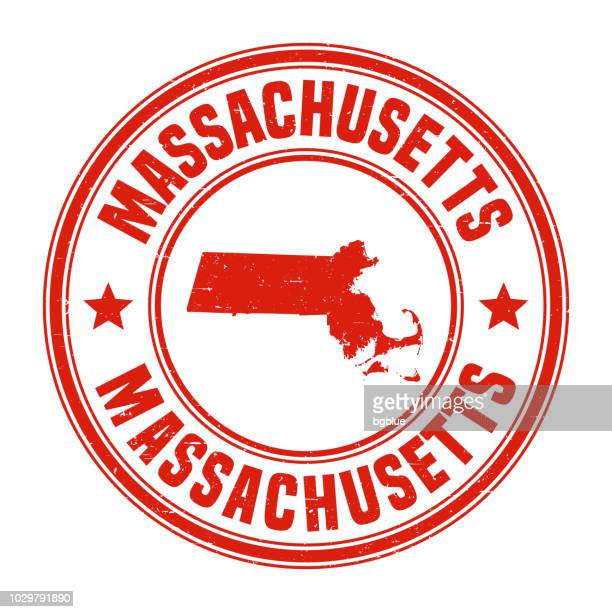 Massachusetts - Red grunge rubber stamp with name and map