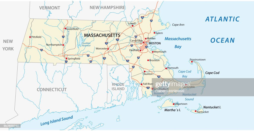 massachusetts road vector map