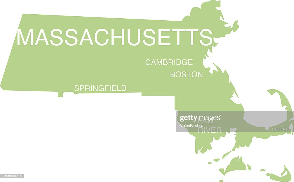 Massachusetts Simple Flat Vector with city cutouts