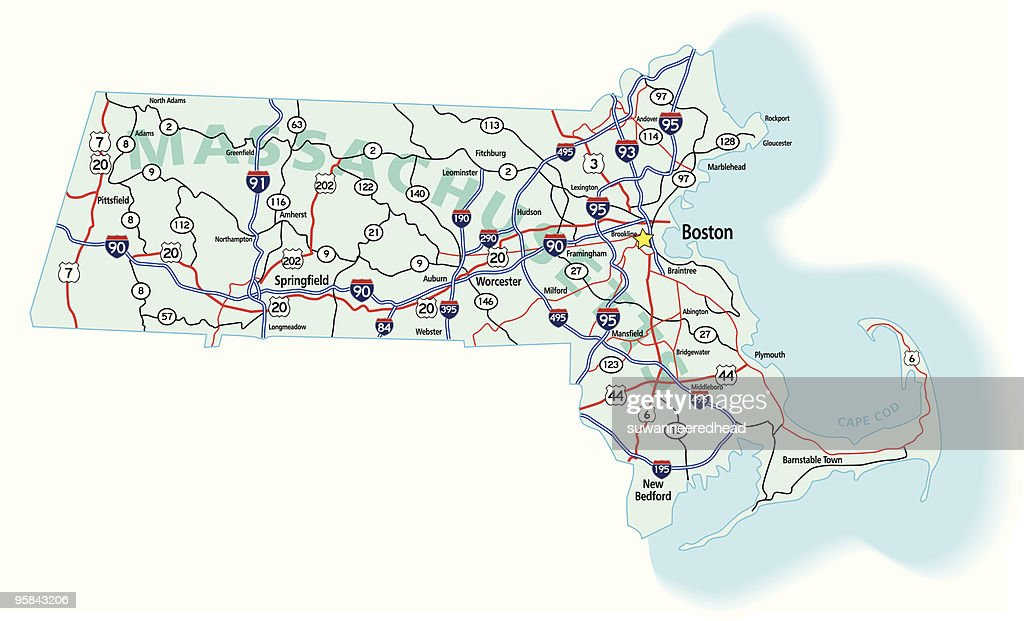 Massachusetts State Interstate Map
