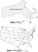 Massachusetts state of USA map vector outlines with scales of miles and kilometers