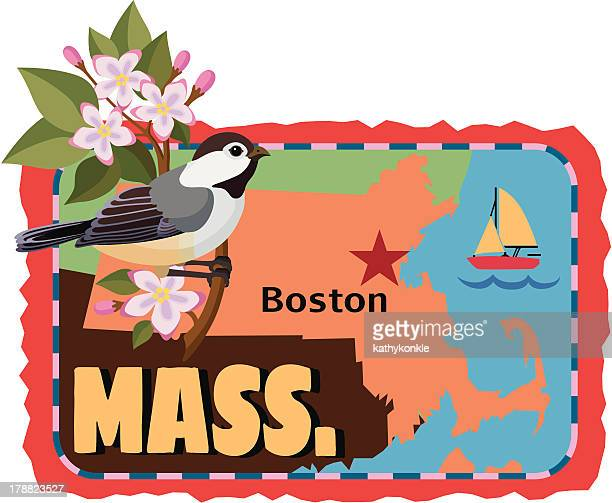 massachusetts travels sticker or luggage label - massachusetts stock illustrations