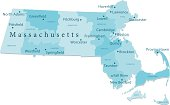 Massachusetts Vector Map Regions Isolated