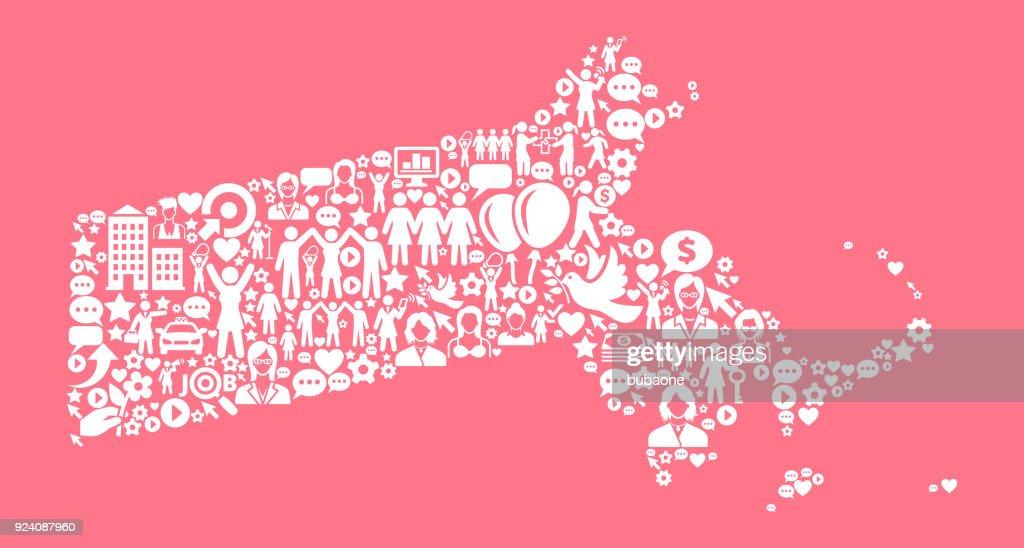 Massachusetts Women's Rights Vector Icon Pattern