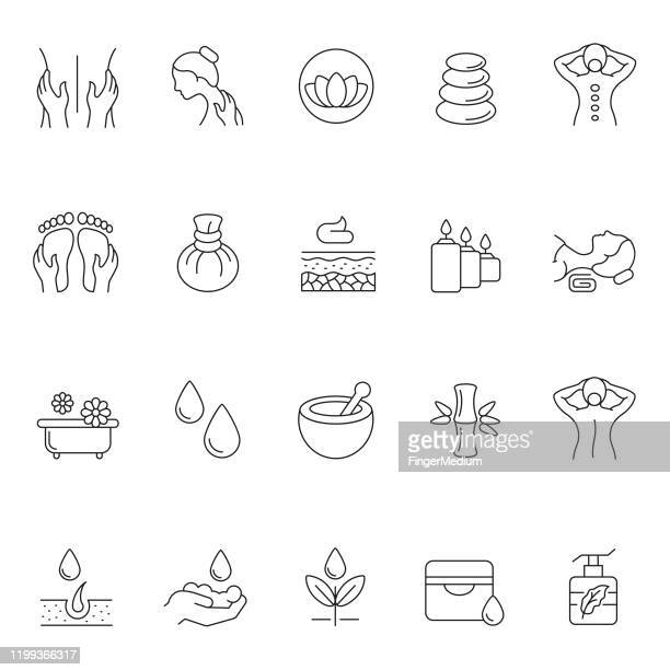 ilustrações de stock, clip art, desenhos animados e ícones de massage and body care icon set - aromaterapia