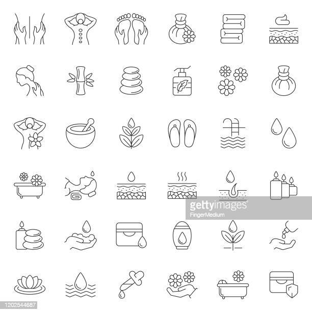 massage und körperpflege icon set - entspannung stock-grafiken, -clipart, -cartoons und -symbole