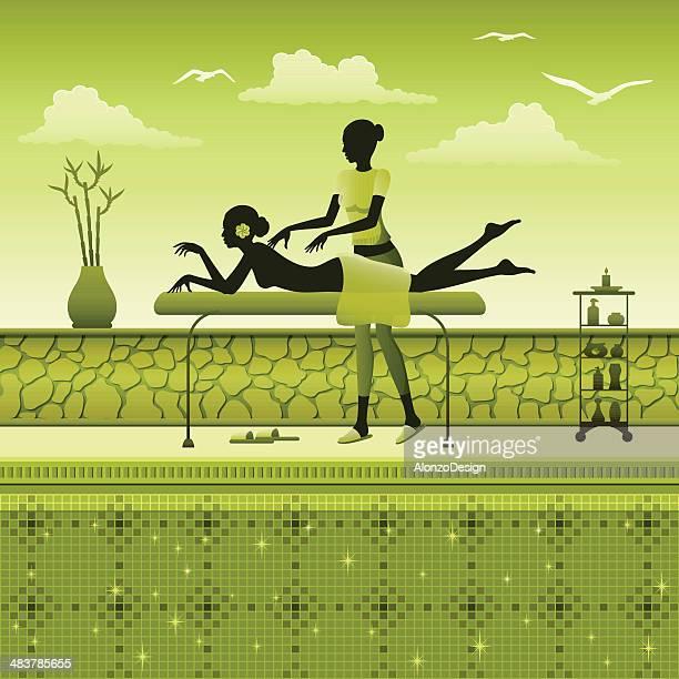 illustrations, cliparts, dessins animés et icônes de massage de spa au bord de la piscine - masseur