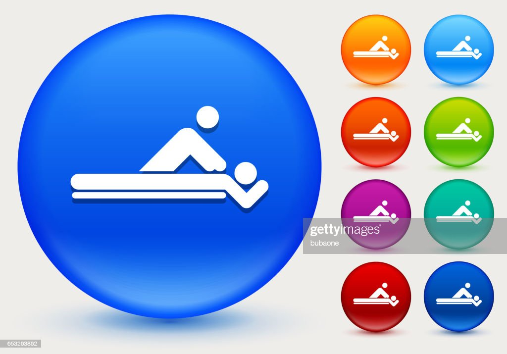 Massage Icon on Shiny Color Circle Buttons : Vector Art