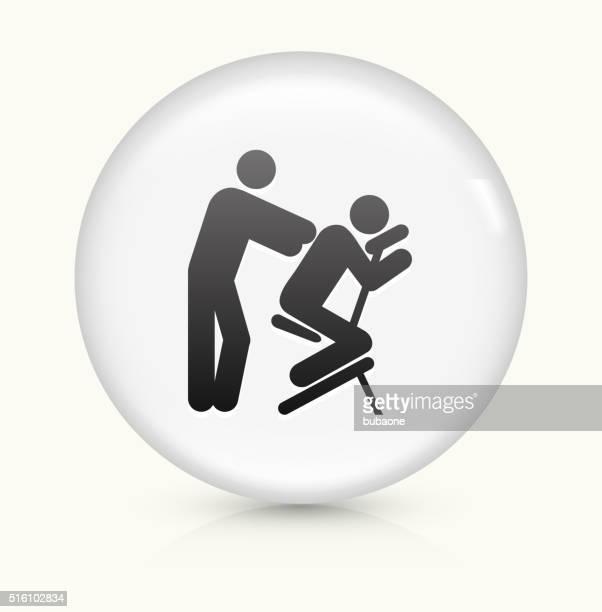 ilustrações de stock, clip art, desenhos animados e ícones de massagem ícone num botão de vetor arredondado branco - massagista