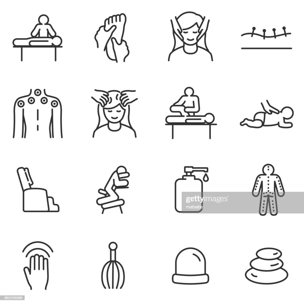 Massage linear icons set. relaxing spa.Line with editable stroke