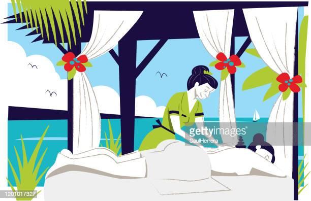 ilustrações de stock, clip art, desenhos animados e ícones de massage on the beach - massagista