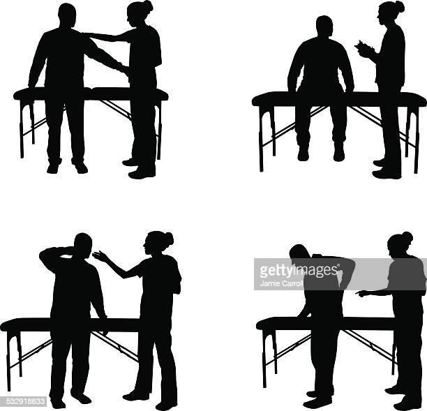 illustrations, cliparts, dessins animés et icônes de massage silhouette illustration - masseur