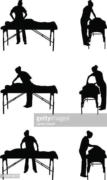 ilustrações de stock, clip art, desenhos animados e ícones de terapia de massagem silhueta ilustração - massagista