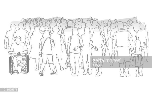 massive crowd of people - mass stock illustrations