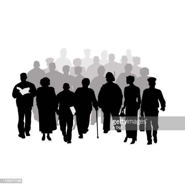 massive crowd - senior citizen clipart stock illustrations
