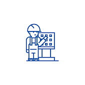 Master,foreman,engineer with machine  line icon concept. Master,foreman,engineer with machine  flat  vector symbol, sign, outline illustration.