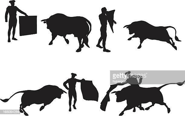 matador silhouette collection - bullfight stock illustrations, clip art, cartoons, & icons