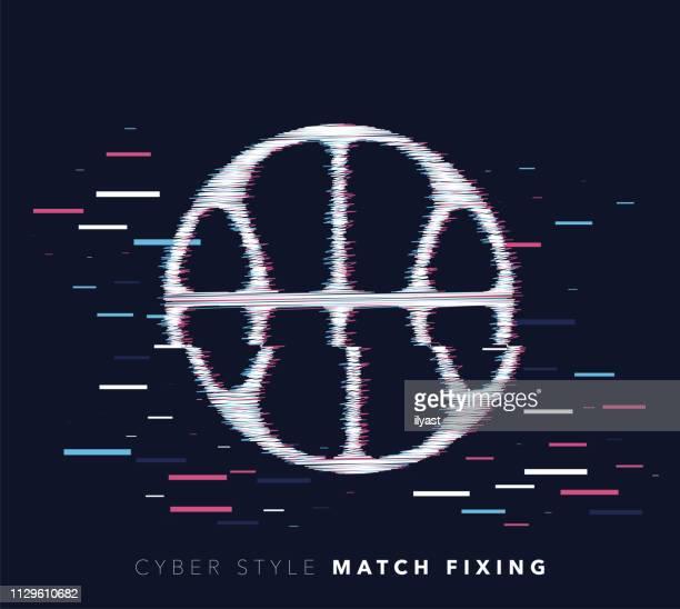 match fixing glitch effect vector icon illustration - hidden stock illustrations, clip art, cartoons, & icons