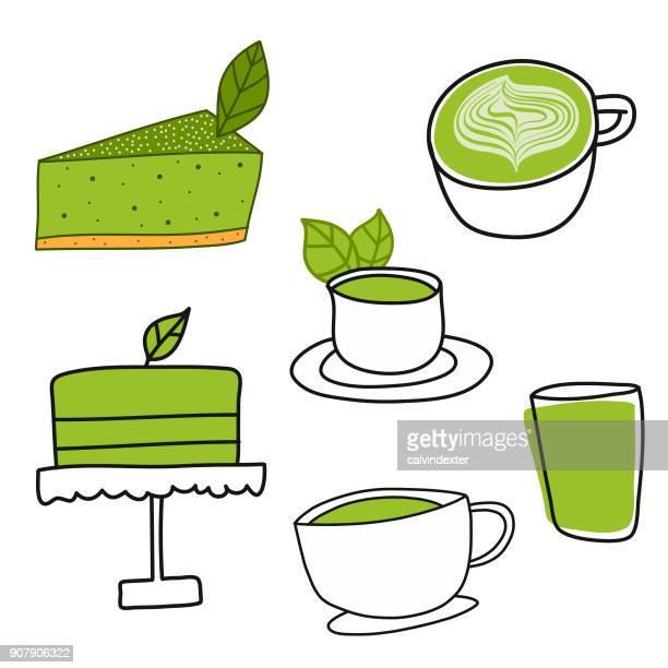 ilustraciones, imágenes clip art, dibujos animados e iconos de stock de bocetos de té verde matcha - social grace