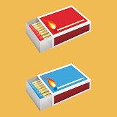 Matchbox illustration with matchsticks inside