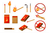 Matches big set. Burning match with fire, opened matchbox, charcoal. Lights. Sign no fire. Vector illustration cartoon style isolated on white background.