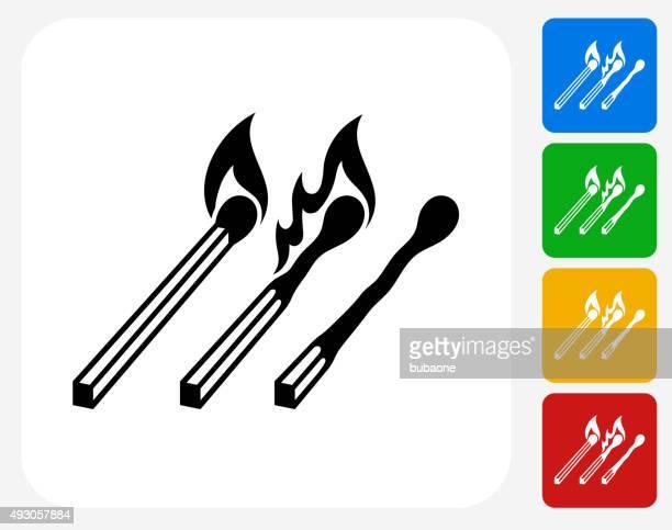 illustrazioni stock, clip art, cartoni animati e icone di tendenza di icona di design piatto con partite - fiammifero