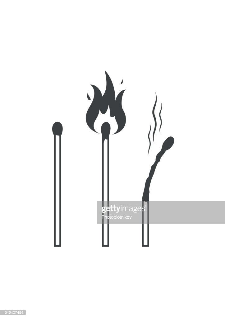 Matches icons, lighted match and burned match. Vector illustration