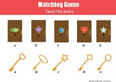 Matching children educational game. Match keys and doors, learning geometric
