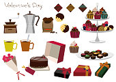 Material collection of chocolate gift. Cake material collection. Valentine 's material collection.