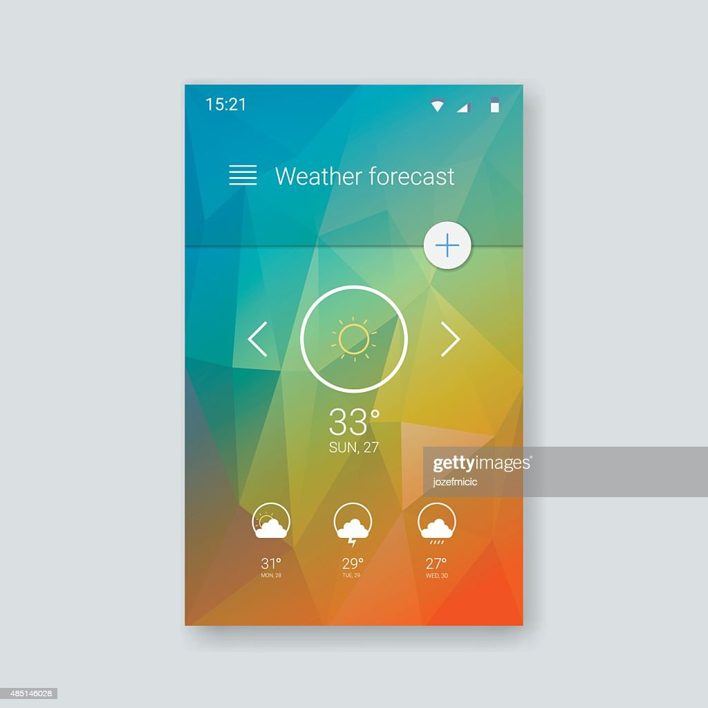 Material design user interface. Weather forecast application screen. Low poly