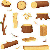 Materials for wood industry. Tree lumber, trunk. Vector pictures set in cartoon style