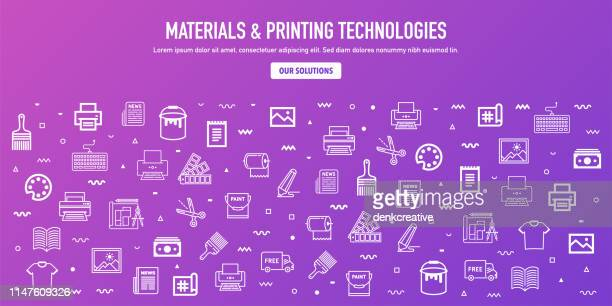 materials & printing technologies outline style web banner design - printing out stock illustrations