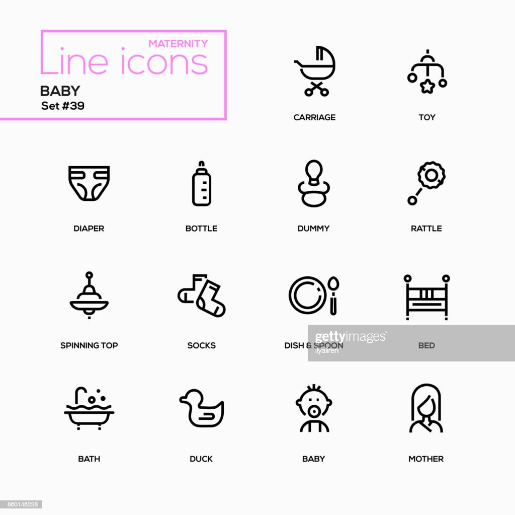Maternity concept - line design icons set