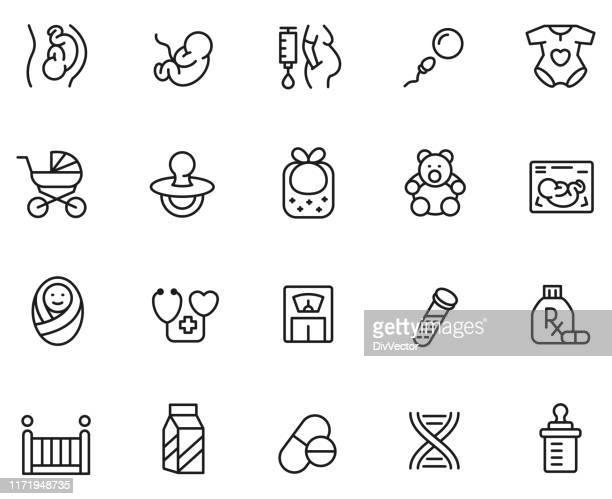 maternity icon set - pregnant stock illustrations