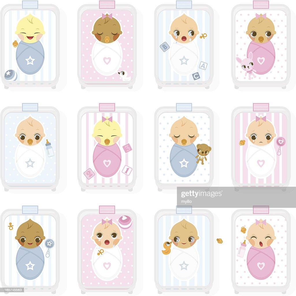 Maternity nursery, hospital. Newborn, baby : stock illustration