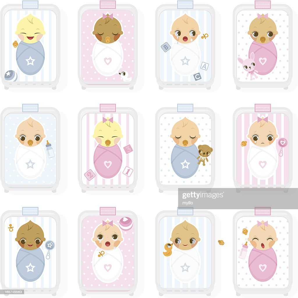 Maternity nursery, hospital. Newborn, baby