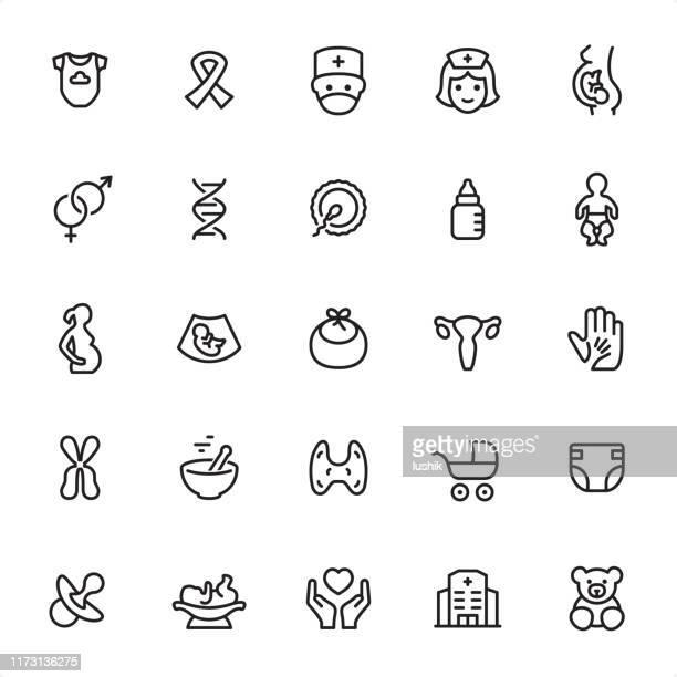 maternity - outline icon set - human embryo stock illustrations
