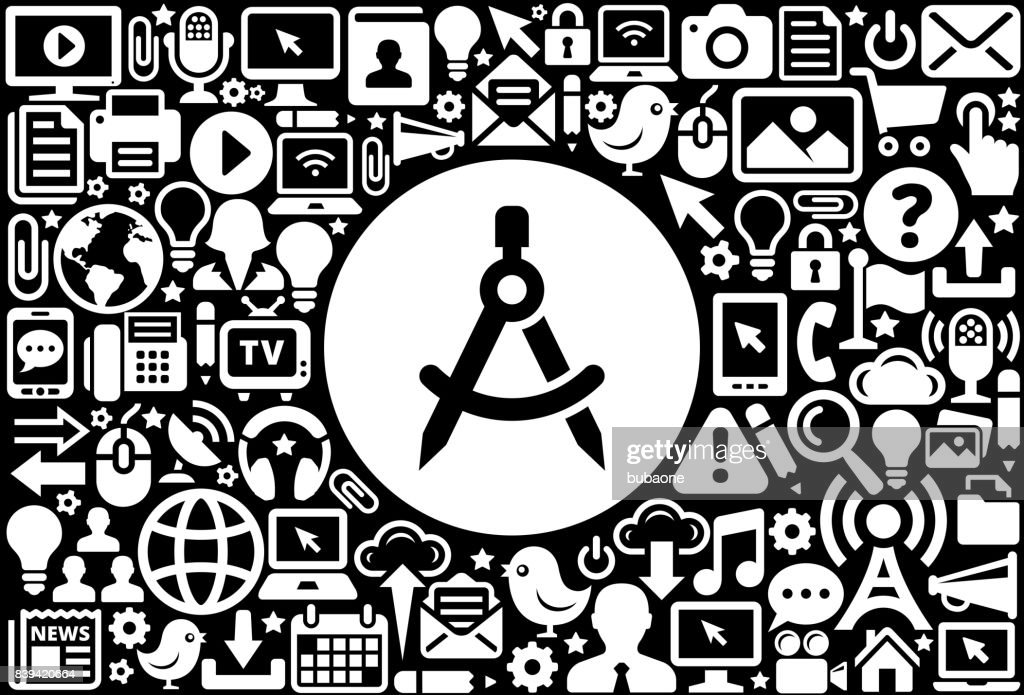 Math Compass Icon Black And White Internet Technology Background Vector Art