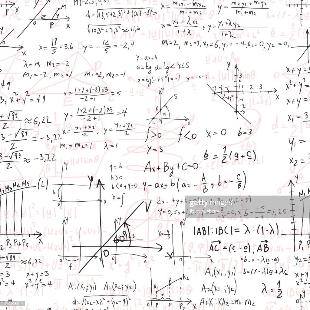 Mathematische Bildung Vector Musterdesign Mit Handgeschriebenen ...