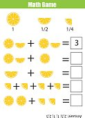 Math educational counting game for children, addition worksheet. Learning fractions