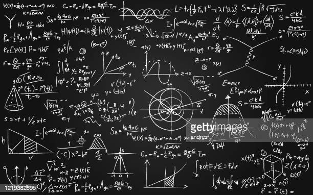 math equations written on a blackboard - physics stock illustrations