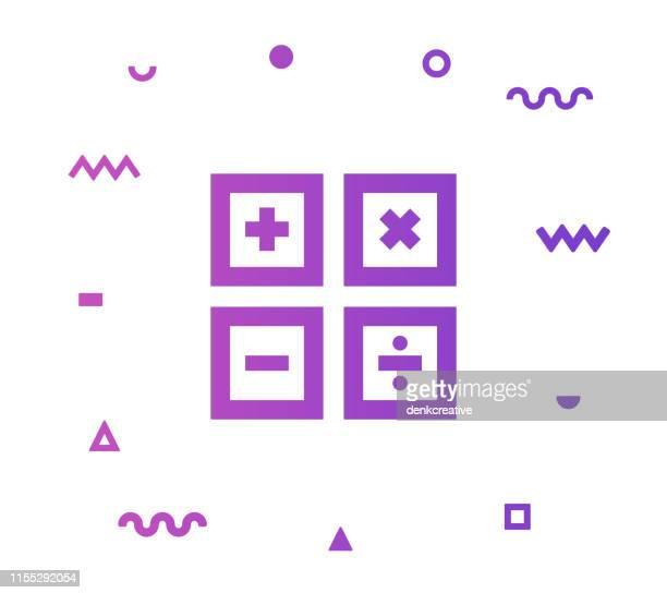 ilustrações, clipart, desenhos animados e ícones de projeto do ícone do estilo da linha da matemática - subtração