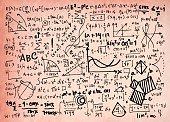 Math linear mathematics education circle background with geometrical plots