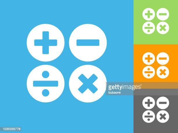 Math s Flat Icon on Blue Background