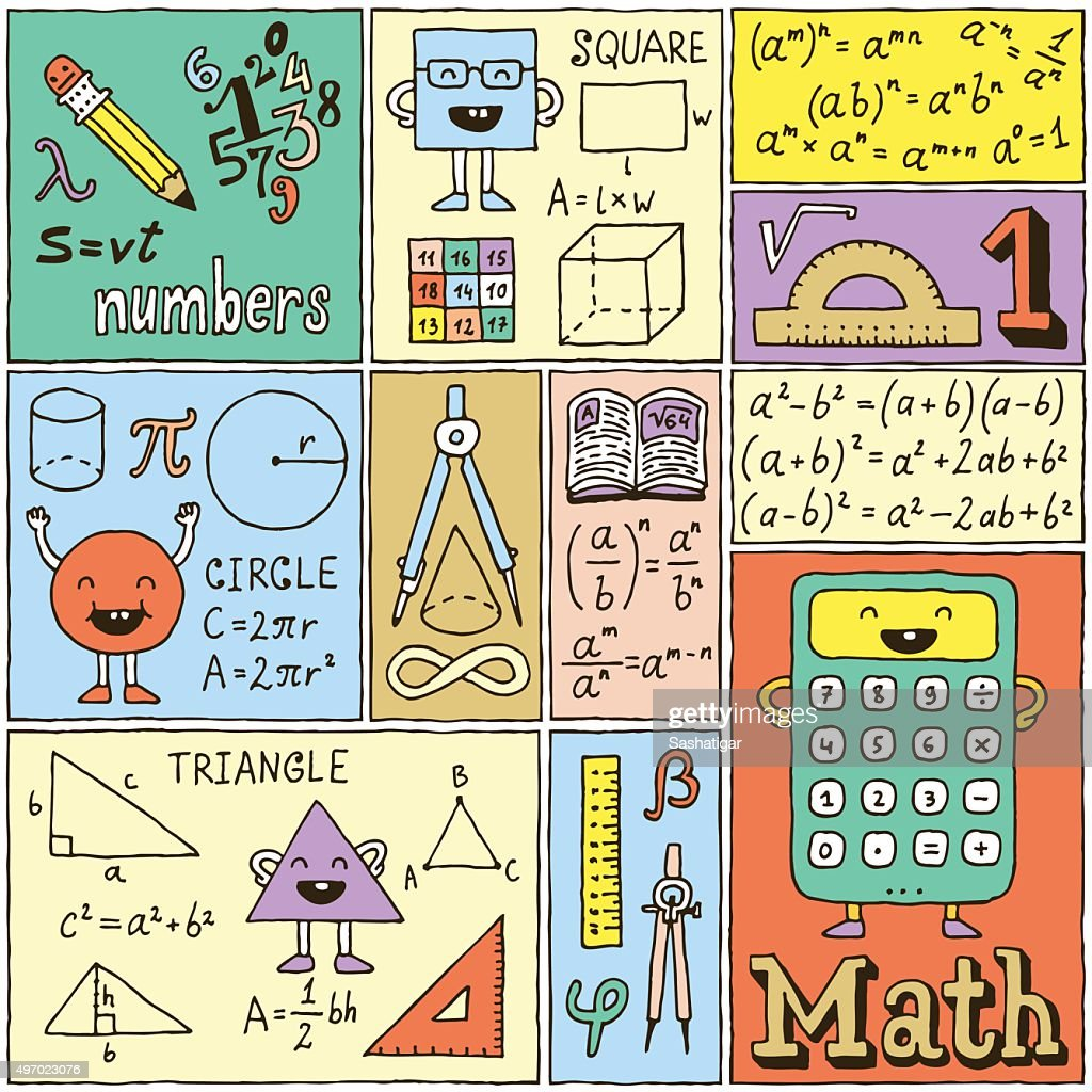 Math Science Banners Color set. Hand Drawn Vector Illustrations.
